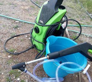 set up sandblasting kit with pressure washer
